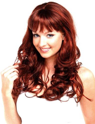 Forever Young Damen-Perücke mit langem, gewelltem Haar, Modeperücke in Weinrot und dunklem Kastanienbraun (Sexy Glamour Perücke In Auburn)