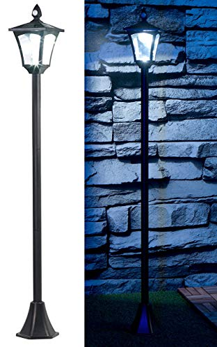 Royal Gardineer Solargartenlaterne: Solar-LED-Gartenlaterne, PIR-Sensor, Dämmerungssensor, 100 lm, 160 cm (Standleuchte)