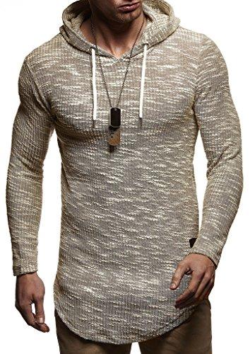 LEIF NELSON Herren Sweatshirt Pullover Kapuzenpullover Hoodie Oversize Sweatshirt mit Kapuze Longsleeve Biker Sweater Langarm LN8126; Größe S, Khaki |