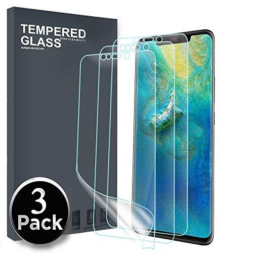 Película de protecção para o Protector de Ecrã Huawei Mate 20, [3 Pack] [Vidro Não Temperado] 3D Película de TPU Flexível PET com Cobertura Totalmente Sensível