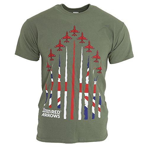Royal Air Force Red Arrows Unisex T-Shirt, Militärdesign, khakigrün (M) (Militärgrün)