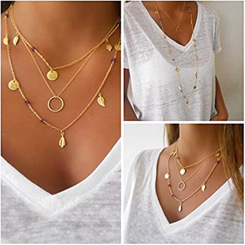 Aukmla Choker Necklaces for Women Leaves Multi-layered and Long Alloy Bar Necklace Chokers Great Gifts (Gold