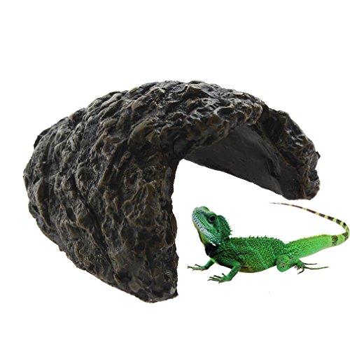 emours Reptile Turtle Versteck Kunstharz Climb Stein Aquarium Decor Schildkröte Eidechse Gecko Rock Cave den, klein