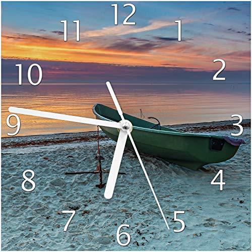 Wallario Glas-Uhr Echtglas Wanduhr Motivuhr; in Premium-Qualität; Größe: 20x20cm; Motiv: Einsames Fischerboot mit Anker am Strand
