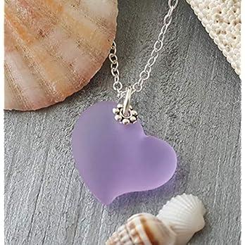 """Handmade in Hawaii,""""magischer Farbwechsel"""" lila Herz Seeglas Halskette,""""Februar birthstone"""", (Hawaii Gift Wrapped, individuell gestaltete Geschenk-Message)"""