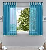 2er-Pack Gardinen Transparent Vorhang Set Wohnzimmer Voile Schlaufenschal mit Bleibandabschluß HxB 175x140 cmTürkis, 61000CN