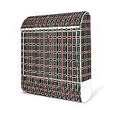 BANJADO Design Briefkasten weiß / 38x47x13cm groß mit Zeitungsfach/Stahl pulverbeschichtet/Wandbriefkasten mit Motiv Kopenhagen, Briefkasten:mit Edelstahl Burg-Wächter Standfuß