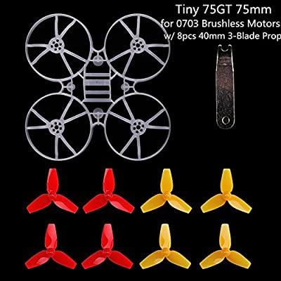 MakerStack Tiny 75GT 75mm Micro Whoop Frame w/ 8pcs 40mm 3-Blade Propellers 1pc Props Removal Tool 0703 Brushless Motors DIY Micro FPV Quadcopter Mini Drone