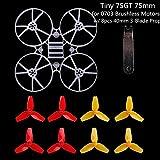 MakerStack Tiny 75GT 75mm Mikro Whoop Rahmen w / 8pcs 40mm 3-Blatt Propeller und 1 Stück Requisiten Removal Tool für 0703 Brushless Motoren DIY Micro FPV Quadcopter Mini-Drohne
