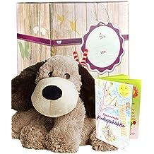 Warmies Geschenkset - Kuscheltier Beddy Bears Hund Gary II mit Lavendelduft Wärmekissen + Edle Geschenkverpackung + Büchlein mit spannenden Kindergeschichten