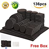 Möbel Pads 136 Stück Pack Self Adhesive Filz Möbel Pads Anti-Scratch-Boden-Protektoren für Stuhl Beine Füße einschließlich Koffer und 30 Gummi-Stoßstangen zu Hartholz Laminat Fliesenboden zu schützen