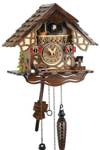 Selva NEGRA uhrenfabrik kammerer reloj de madera con mecanismo de pilas y cuco - oferta de relojes-Park Eble - Engstler - 24 cm Fachwerkhaus - 416 Q