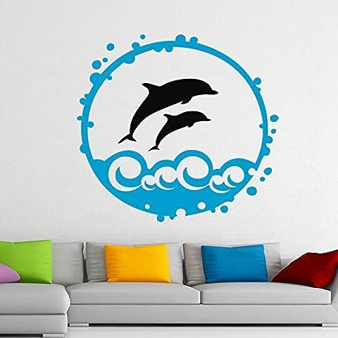 Sala de estar Salpicar Delfines fácil de la cáscara y del palillo del Tatuaje de pared de vinilo pegatinas