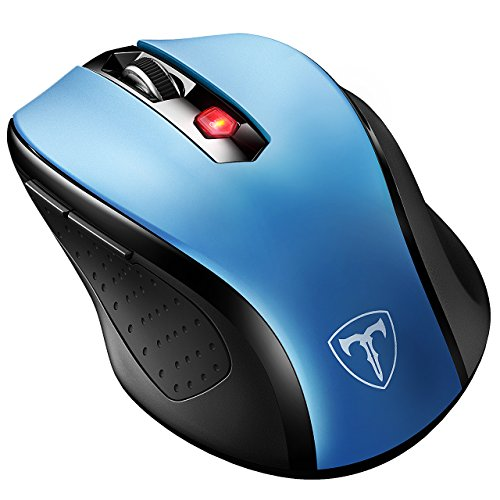 Preisvergleich Produktbild VicTsing Mini Schnurlos Maus Wireless Mouse 2.4G 2400 DPI 6 Tasten Optische Mäuse mit USB Nano Empfänger Für PC Laptop iMac Macbook Microsoft Pro,  Office Home-Blau