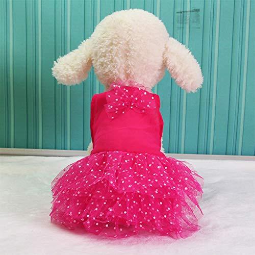 g für Hunde/Katzen, Prinzessinnen-Kleid aus Chiffon, Sommer, modisch, Retro, geringes Gewicht, trockene Wasseraufnahme, komfortabel, XS-XXL, Polyester, rot, xx-Large ()