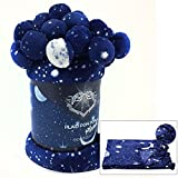 Plaid in Pile Blu disegno Cielo notturno - Pianeti misura cm 130x160 con Pon Pon