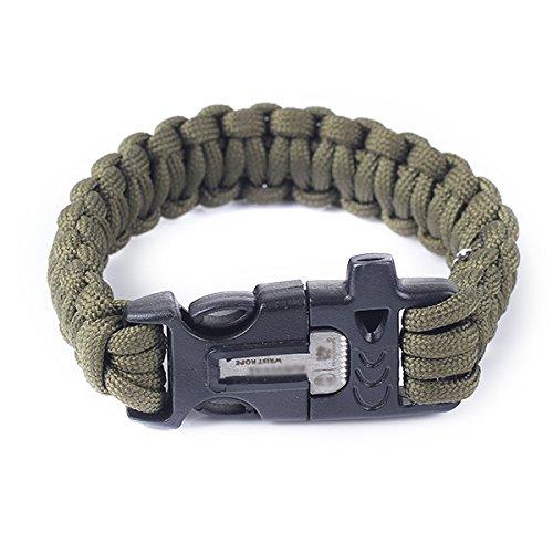 Estone - bracciale da escursionismo con corda paracord, pietra focaia e fischietto.
