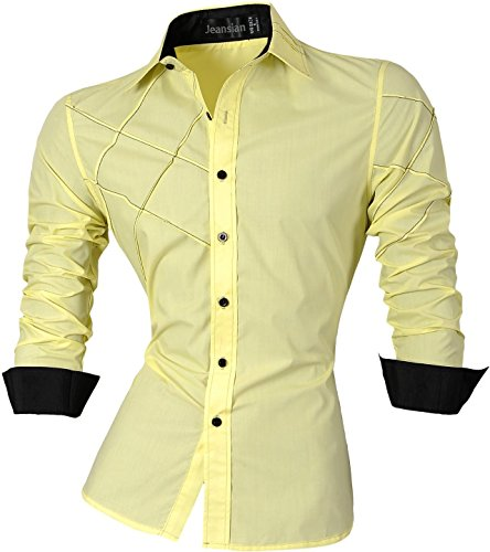 Jeansian uomo camicie maniche lunghe moda men shirts slim fit causal long sleves fashion 2028 yellow xxl
