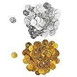 P Prettyia 200er-Set Gold / Silber Piraten Münzen Spielzeug Münzen Piratenschatz als Spiel Props