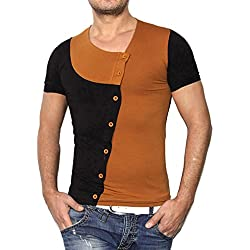 Tefamore Camiseta Hombres De Manga Corta De Verano De Moda Empalme De Cuello Redondo Suéter (Tamaño:L, Marrón)