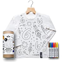 Colour In Birthday Top - Space Adventure (Size 6-8 Personalised Age 7)
