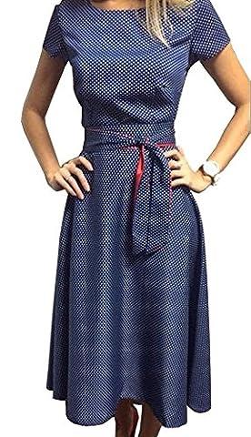 TOP-AK Damen Retro Hepburn Dot Taille Große Schaukel Kleid Faltenrock Sommerkleid mit Schleifen Abendkleider Partykleid, Blau,
