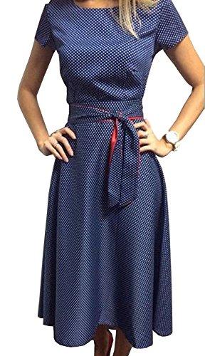 TOP-AK Damen Retro Hepburn Dot Taille Große Schaukel Kleid Faltenrock Sommerkleid mit Schleifen Abendkleider Partykleid, Blau, L-38 (Ak Top)