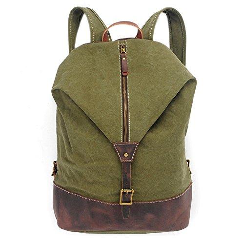 Tela Zaino, boshiho Outdoor Vintage Tela Zaino Borsa A Tracolla Scuola Viaggio Campeggio Escursionismo Bag, Army Green, 13.0 x 4.3 x 17.3 in Army Green