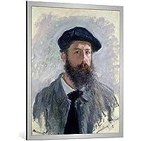 """Quadro con cornice: Claude Monet """"Self Portrait with a Beret, 1886"""" - stampa artistica decorativa, cornice di alta qualità, 85x100 cm, Argento spazzolato"""