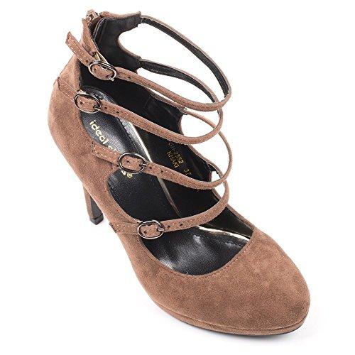 Ideal Shoes Escarpins Effet Daim et multibrides Claudia Taupe