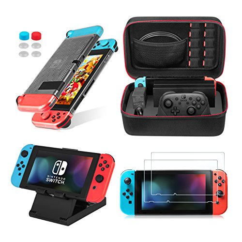 Keten 13 in 1 Nintendo Switch Zubehör, inkusive Nintendo Switch tragbare Tasche / Nintendo Switch Hülle / Switch Ständer / Switch Displayschutzfolie (2 Mal)