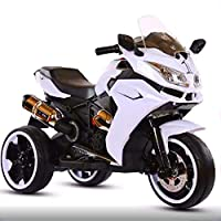 ‏‪Electric Ride-On Compatible White Motorbike for Kids with Headlights and Sound Effects‬‏