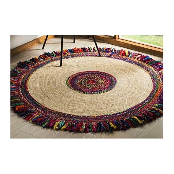 Hand Woven Jute with Cotton Cutting StripNatural Round Indoor Rug | Carpet | Doormat | Mats | Floormat