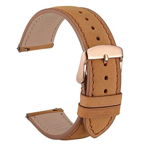 WOCCI 22mm Vintage Leder Uhrenarmband mit Rose Gold Schnalle, Schnellverschluss Ersatz Zubehör (Hellbraun)