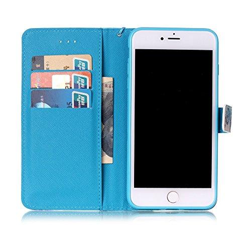Für iPhone 7 Plus 5.5 zoll Lederhülle Schutzhülle,Für iPhone 7 Plus 5.5 zoll Full Body Schutz Tasche Case,Funyye Stilvoll Mode [Bunt Muster] Flip Wallet Case Slim PU Leder Cover Tasche Handy Case Schu Blau Traumfänger