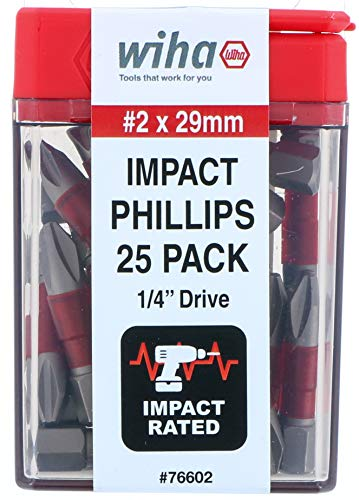 Impact Insert Bit Phillips #2-25 Pack -