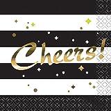 """Elegante Party-Servietten, Schwarz-Weiß gestreift, mit Aufschrift """"Cheers"""" in Goldfolie, 25,4cm, 8 Stück"""