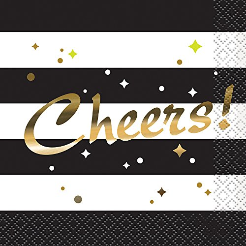Chic Party Schwarz und Weiß gestreift 'Cheers' gold Folie Cocktail Serviette. 25,4cm. 8Stück