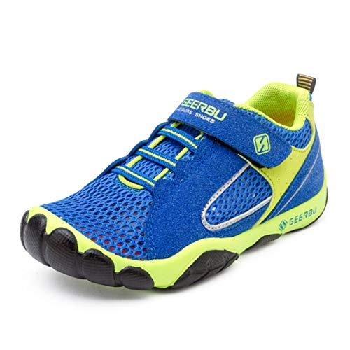 Unpowlink Kinder Schuhe Sportschuhe Ultraleicht Atmungsaktiv Turnschuhe Klettverschluss Low-Top Sneakers Laufen Schuhe Laufschuhe für Mädchen Jungen 28-37 (29 EU, Rosa) (35 EU, 812-Königsblau)