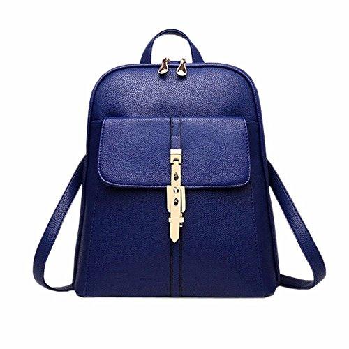 MSZYZ Weihnachtsgeschenke Pu Leder Frauen Kleiner Rucksack College School Bag Travel Rucksack Für Mädchen Blau