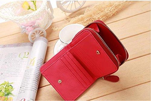 Hippolo Donne Portafoglio in pelle pulsante della frizione della borsa (Red) Red