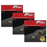 Tiger Cordes pour guitare acoustique - Lot de 3 Super léger (11-52) des Ensembles