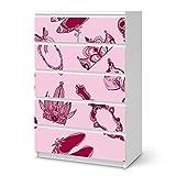 creatisto Ikea Malm 6 Schubladen (Hoch) Möbel-Folie Design Pink Princess Schutz Dekorations-Element