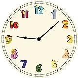 Wanduhr Kinderwanduhr Kinderuhr Uhr Holz Rund Deko Kinderzimmer - Cartoon Zahlen
