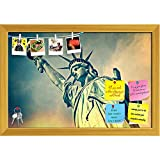 ArtzFolio Statue Of Liberty, New York City, USA Printed Bulletin Board Notice Pin Board cum Golden Framed Painting 17.5 x 12inch