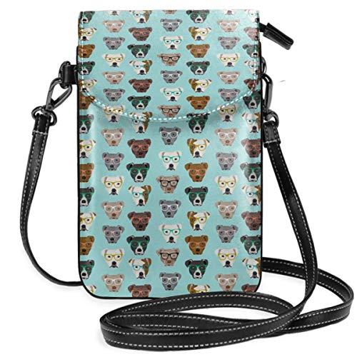 Suminla-Home Kleine Handtasche für Handy, Umhängetasche, Pitbull Heads, Pitbull Brille, süße Hunde, Pitty Pitbull Dog, blau getönt, Smartphone Geldbörse mit abnehmbarem Riemen