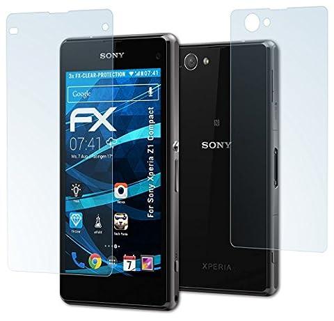Sony Xperia Z1 Compact Schutzfolie - 3er Set atFoliX FX-Clear kristallklare Folie Displayschutzfolie
