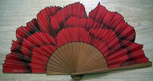 Abanico'Clavel rojo' seda natural pintado y montado a mano