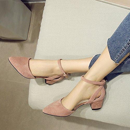 5cm Boucle Talon Avec Unie Chaussures Couleur Lété Talons Shoeshaoge xfqBnAw