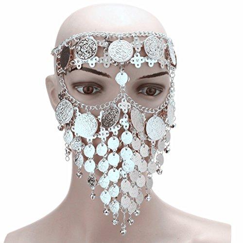 l Ägyptische Halloween Kostüm Kopfbedeckung Münzen Gesichtsmaske Schleier Tribal Beduine Burka Burqa Metall Kopf Kette (Silber) (Metall Kopf Halloween Kostüm)